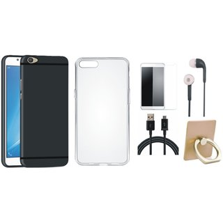 Oppo F3 Plus Silicon Slim Fit Back Cover with Ring Stand Holder, Silicon Back Cover, Tempered Glass, Earphones and USB Cable