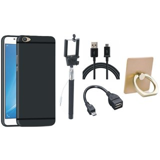 Moto E4 Plus Stylish Back Cover with Ring Stand Holder, Selfie Stick, OTG Cable and USB Cable