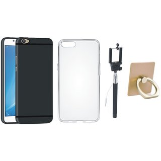 Oppo A37F Stylish Back Cover with Ring Stand Holder, Silicon Back Cover, Free Silicon Back Cover and Selfie Stick