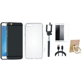 Oppo F3 Plus Silicon Slim Fit Back Cover with Ring Stand Holder, Free Selfie Stick, Tempered Glass and USB Cable