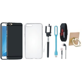 Oppo A37F Stylish Back Cover with Ring Stand Holder, Silicon Back Cover, Selfie Stick, Digtal Watch, Earphones and USB LED Light