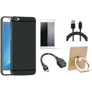 Vivo Y55 Soft Silicon Slim Fit Back Cover with Ring Stand Holder, Tempered Glass, OTG Cable and USB Cable