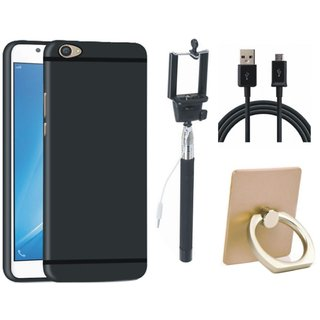Vivo Y55 Soft Silicon Slim Fit Back Cover with Ring Stand Holder, Selfie Stick and USB Cable