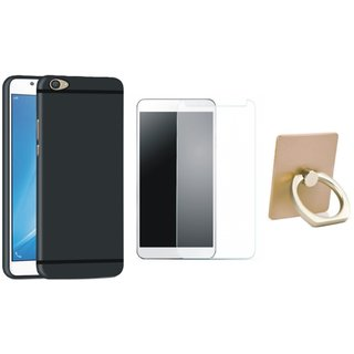 Vivo Y55 Soft Silicon Slim Fit Back Cover with Ring Stand Holder, Tempered Glass
