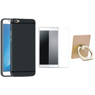 Vivo Y55 Silicon Slim Fit Back Cover with Ring Stand Holder, Tempered Glass