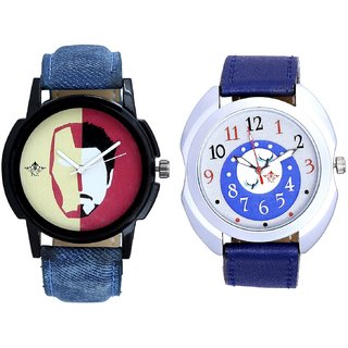 Almight Blue Round Dial And Rocky Men's Analogue Men's Combo Wrist Watch By Vivah Mall