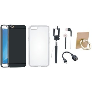 Vivo Y55 Silicon Slim Fit Back Cover with Ring Stand Holder, Silicon Back Cover, Selfie Stick, Earphones and OTG Cable