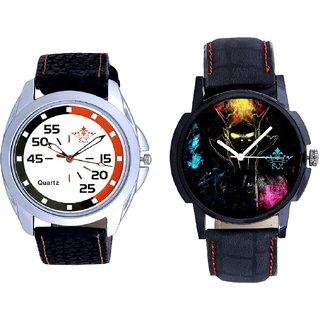 Elegant 3D Designer And Orange-Black Multi Dial Quartz Analogue Combo Watch By Vivah Mall