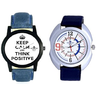 Power Of Positive Thinking And Blue Sport Leather Strap Casual Analog Combo Men's Watch By Fashion Gallery Mall