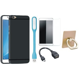 Moto E4 Plus Cover with Ring Stand Holder, Tempered Glass, USB LED Light and OTG Cable