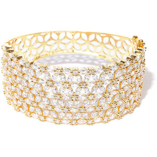 Jewels Galaxy Decent AAA Sparkling White Zircon Florets Design Broad Gold Plated Ethnic Bracelet For Women/Girls