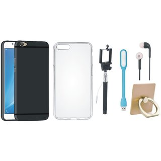 Vivo Y55 Silicon Slim Fit Back Cover with Ring Stand Holder, Silicon Back Cover, Selfie Stick, Earphones and USB LED Light