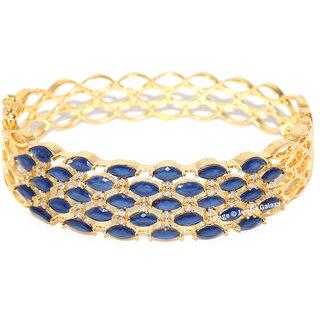 Jewels Galaxy Elegant Multi-Layered AAA CZ Delightful Blue Gold Plated Broad Ethnic Bracelet For Women/Girls