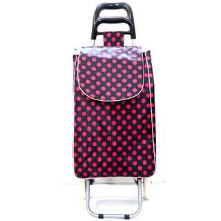 SSWW Supermarket Foldable Red and Black Polka dotted Shopping Vegetable Trolly Bag