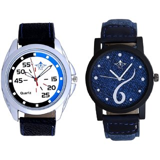 Sports Sixth Art Design And Exclusive Blue-Black Round Quartz  Combo Analogue Wrist Watch By Fashion Gallery Mall