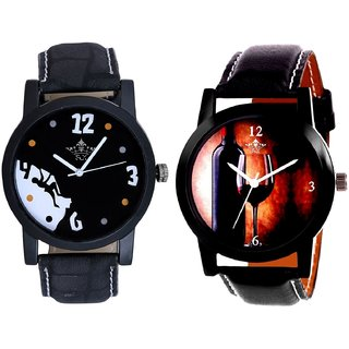 Wine Glass Luxury Style And Goal Achived Motivated Men's Analog Combo Casual Wrist Watch By Fashion Gallery Mall