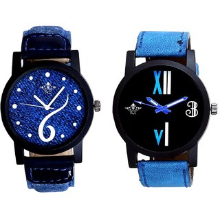 Sports Sixth Art Design And Roman White - Blue Fancy Men's Analog Combo Casual Wrist Watch By Fashion Gallery Mall
