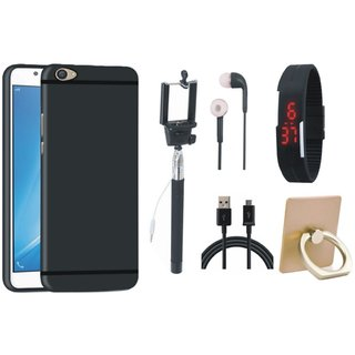 Redmi Note 5 Soft Silicon Slim Fit Back Cover with Ring Stand Holder, Selfie Stick, Digtal Watch, Earphones and USB Cable