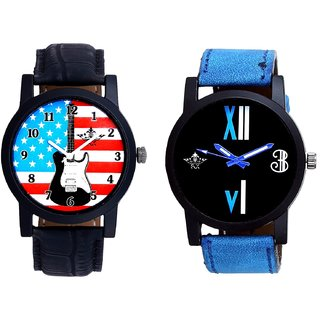 Exclusive USA Design And Roman White - Blue Fancy Men's Analog Combo Casual Wrist Watch By Fashion Gallery Mall