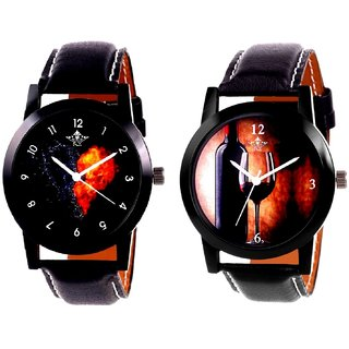 Wine Glass Luxury Style And Love Print Dial Men's Combo Casual Watch By Fashion Gallery Mall