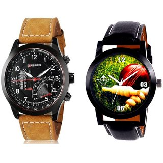 Cricket Super Design And Curren Meter Leather Hand Strap Quartz  Combo Analogue Wrist Watch By Fashion Gallery Mall
