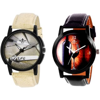 Wine Glass Luxury Style And Life Print Dial Men's Combo Quartz Watch By Fashion Gallery Mall