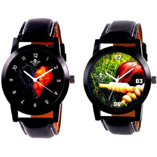 Cricket Super Design And Love Print Dial Men's Combo Casual Watch By Fashion Gallery Mall