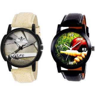 Cricket Super Design And Life Print Dial Men's Combo Quartz Watch By Fashion Gallery Mall