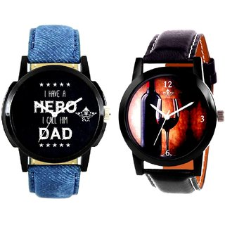 Wine Glass Luxury Style And My Ded My Hero Men's Combo Wrist Watch By Fashion Gallery Mall