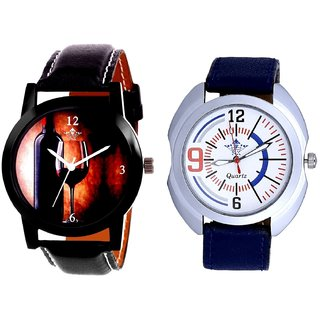 Wine Glass Luxury Style And Blue Sport Leather Strap Casual Analog Combo Men's Watch By Fashion Gallery Mall