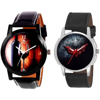 Wine Glass Luxury Style And Black - Red Fancy Dial Analogue Men's Combo Watch By Fashion Gallery Mall