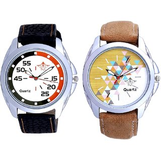 Attractive Design Brown Belt And Orange-Black Multi Dial Quartz Analogue Combo Watch By Fashion Gallery Mall