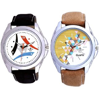 Attractive Design Brown Belt And Luxury Design 3 Fan Analogue Men's Combo Watch By Fashion Gallery Mall