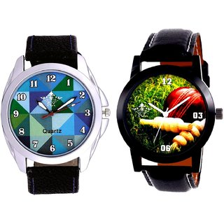 Cricket Super Design And Royal Sky Colour Art Men's Combo Casual Watch By Fashion Gallery Mall