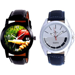 Cricket Super Design And Royal Silver-Black Dial Men's Combo Quartz Watch By Fashion Gallery Mall
