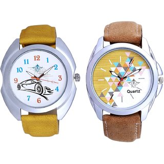 Attractive Design Brown Belt And Rolls-Royce Car Men's Combo Wrist Watch By Fashion Gallery Mall