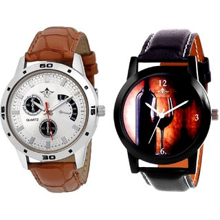 Wine Glass Luxury Style And Designer Brown Leather Casual Analog Combo Men's Watch By Fashion Gallery Mall