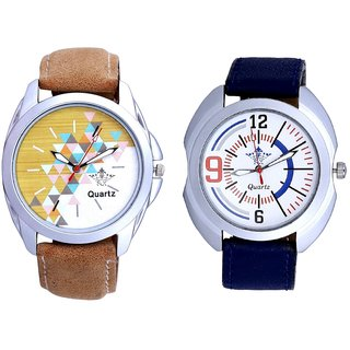 Attractive Design Brown Belt And Blue Sport Leather Strap Casual Analog Combo Men's Watch By Fashion Gallery Mall