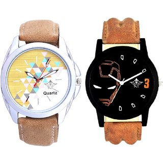 Attractive Design Brown Belt And Iron Man Quartz  Combo Analogue Wrist Watch By Fashion Gallery Mall