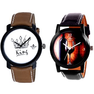 Wine Glass Luxury Style And King Dial Men's Combo Analog Wrist Watch By Fashion Gallery Mall