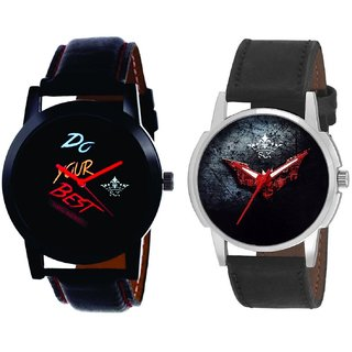 Do Your Best Multi Colour And Black - Red Fancy Dial Analogue Men's Combo Watch By Fashion Gallery Mall
