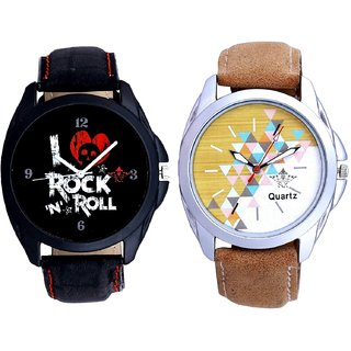 Attractive Design Brown Belt And I Love Rock N Roll Print Dial Men's Combo Analog Wrist Watch By Fashion Gallery Mall