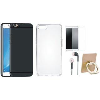 Vivo Y55L Soft Silicon Slim Fit Back Cover with Ring Stand Holder, Silicon Back Cover, Earphones and Tempered Glass