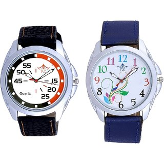 Colouring Flowers And Orange-Black Multi Dial Quartz Analogue Combo Watch By Fashion Gallery Mall