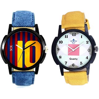Luxury Square Design And Yelow 10 Analogue Men's Combo Watch By Vivah Mall
