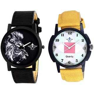 Luxury Square Design And White Lion Men's Combo Quartz Watch By Vivah Mall