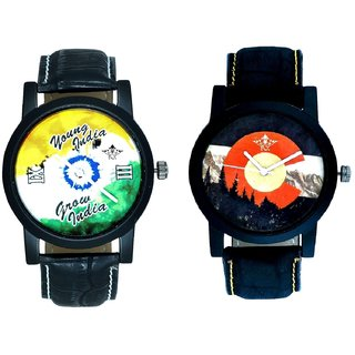 Winter Mount Themes And Young India Grow India Men's Analog Combo Casual Wrist Watch By Vivah Mall
