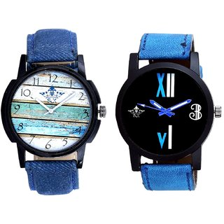 Spanish Special Colour And Roman White - Blue Fancy Men's Analog Combo Casual Wrist Watch By Fashion Gallery Mall