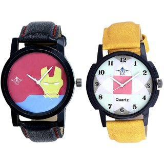 Luxury Square Design And Yellow Iron Men Dial Men's Combo Wrist Watch By Vivah Mall