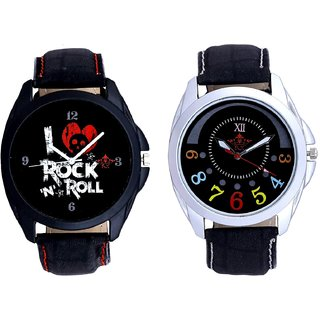 Classical Black Round Dial And I Love Rock N Roll Print Dial Men's Combo Analog Wrist Watch By Fashion Gallery Mall